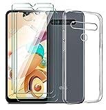 LJSM Hülle für LG K41S + [3 Stück] Panzerglas Bildschirmschutzfolie Schutzfolie - Transparent Weich Silikon Schutzhülle Flexibel TPU Tasche Hülle für LG K41S (6.55