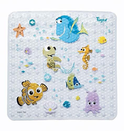 Tigex - Alfombra de Baño Con Base Antideslizante, Diseño con Dibujos de Nemo, Formato Universal 53x53cm, con Ventosas, de 1 a 3 Años