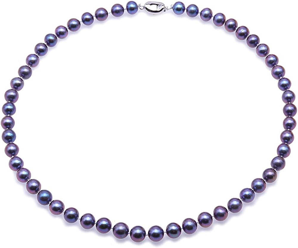 JYX Pearl Necklace 8mm Dyed-Blue Near Round Freshwater Cultured Pearl Necklace Bracelet