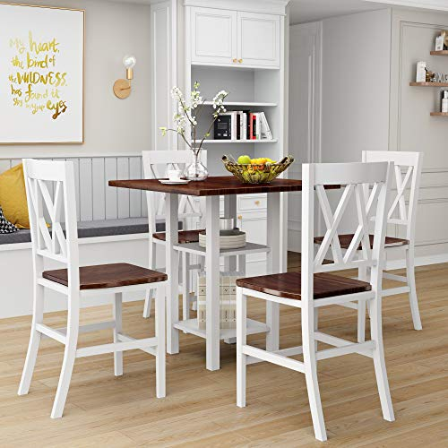 Merax LUMISOL Counter Height Table and Chair Set, 5 Piece Dining Table Set with Double Shelf (White)