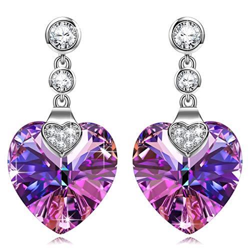 Kami Idea Pendientes para Mujer - Guardián del Amor - Arete Colgantes de Cristal Morado, Joyas para Mujer, Paquete de Regalo