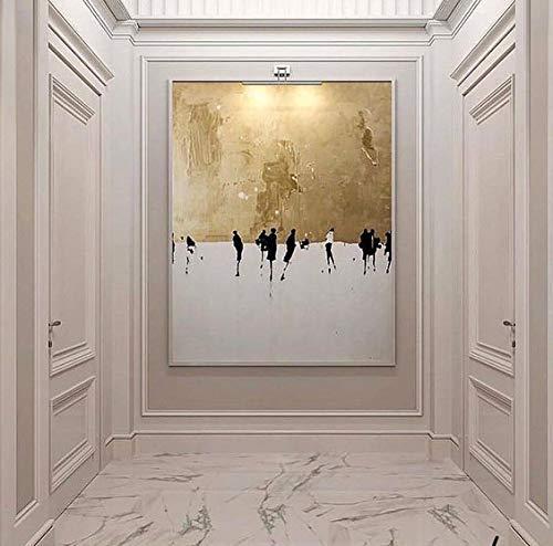 Orlco Art Peinture à l'huile abstraite peinte à la main, de haute qualité, peinture à l'huile sur toile, couleurs or et blanc, pour salon, 80 x 120cm