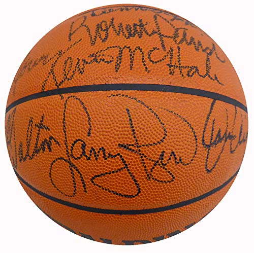 1985-86 Boston Celtics NBA Champions Multi Signed Autographed NBA Game Basketball With 7 Signatures Including Larry Bird & Dennis Johnson Beckett BAS #A34726
