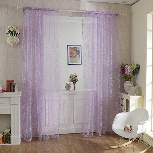 Lommer Vorhang Transparent, 2er 200x100CM Gardinen Set Beflockung Fenstersiebung Voile Schlaufenschal Tüll Fenster Vorhang Garn für Schlafzimmer und Wohnzimmer, Schmetterlingsmuster (Lila)