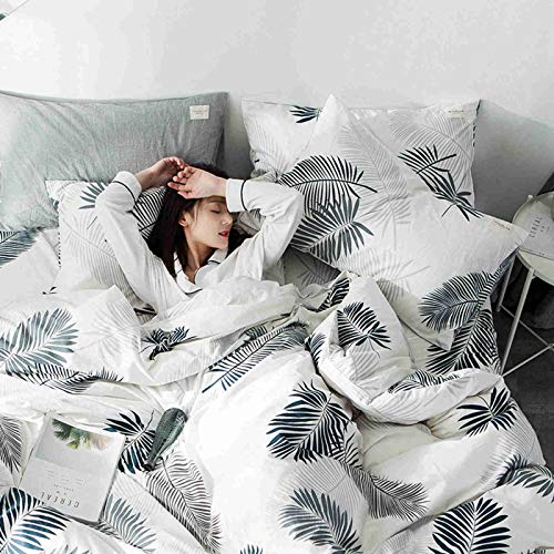 XUNGENG Basics - Juego de ropa de cama con diseño de rayas de algodón, funda nórdica y funda de almohada (48 x 74 cm, microfibra, 180 x 200 cm)