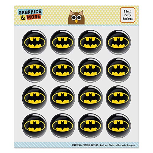 Batman Classic Bat Shield Logo Puffy Bubble Dome Scrapbooking Craft Sticker Set 1.0 Inch Stickers multi