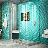DreamLine Unidoor Plus 46 in. W x 34 3/8 in. D x 72 in. H Frameless Hinged Shower Enclosure in Brushed Nickel, SHEN-24460340-04