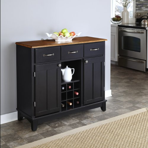 Home Styles Buffet of Buffets Black with Cottage Oak Wood Top with Hardwood Construction, Two Utility Drawers, Two Cabinets, Adjustable Shelf, and Brushed Stainless Steel Hardware