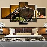 SGDJ 5 Panel Wall Art Barril Roble Bodega Cerveza Vaso UVA Violín Pintando la impresión de la Pintura en Lienzo Seascape Pictures para la decoración de casa Regalo de decoración