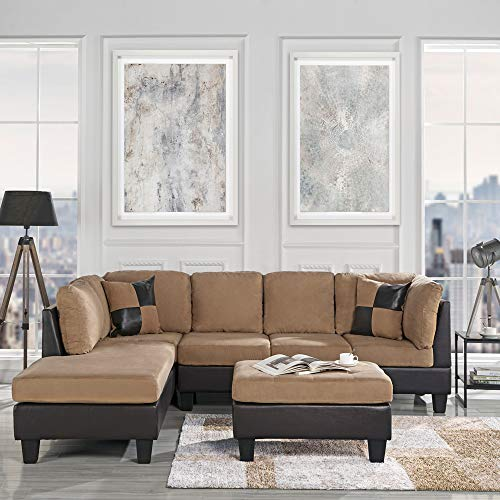 Casa Andrea Modern 3-Piece Microfiber and Faux Leather Sofa and Ottoman Set, 102' W (Hazelnut)