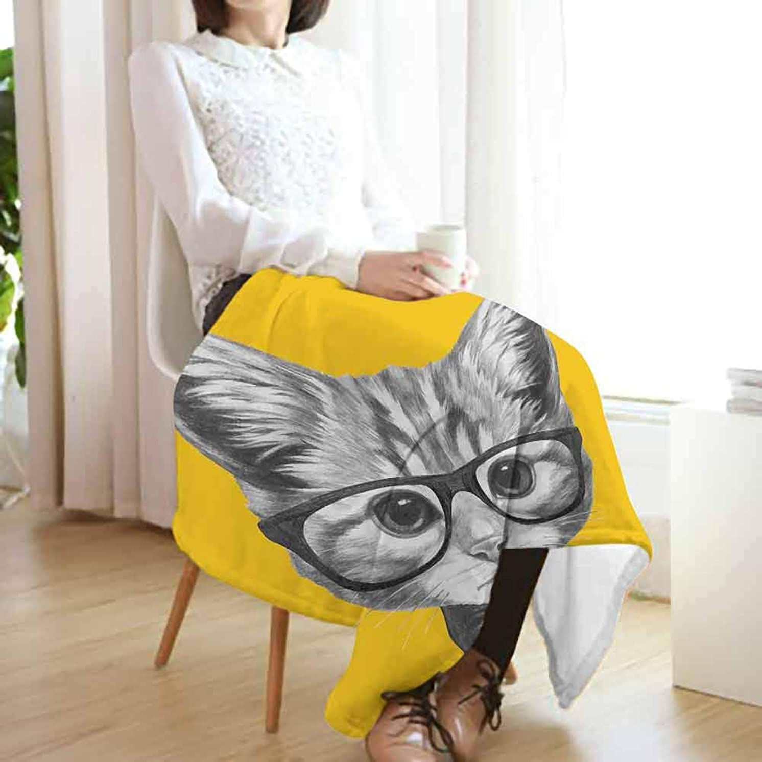 Animal Flannel Fleece Blanket,Sketchy Hand Drawn Design Baby Hipster Cat Cute Kitten with Glasses Image Print Lightweight Blanket for Couch(90