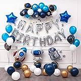 Ponmoo Globos Cumpleaños Decoraciones Azul para Fiestas Robot, Niño Feliz Cumpleaños Decoracion Globos Birthday Decorations, Espacio Decoraciones de Cumpleaños Feliz Globos Fiesta de Decoración Cohete