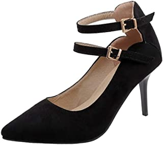 Solid Color Double Buckle High Heels For Banquet Wedding Dress Daily (Color : Black, Size : 35)