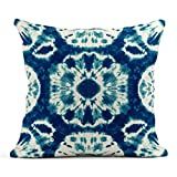 Tarolo Throw Pillow Covers Watercolor Pattern Abstract Batik Tie Dyed of Indigo Color on White Hand Dye Fabrics Shibori Dyeing Blue Ink Linen Cushion Cases Home Decorative Pillowcases 18 x 18 inches