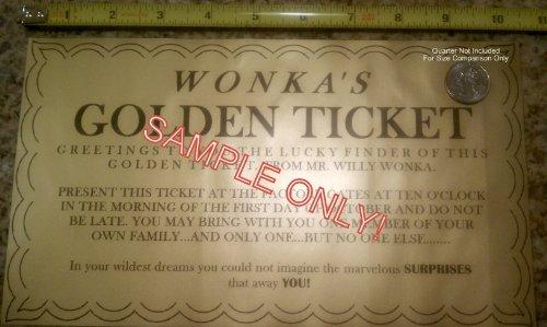 GIGANTIC WILLY WINKA GOLDEN TICKET 10 X 6 (SHIPS DE US)
