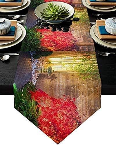 VJRQM Chemin de Table Basse Zen Jardin Fleur Motif Bambou Chemin de Table en Toile de Jute 72 Pouces de Long pour Les Vacances à la Ferme Rassemblement Banquet fête d'anniversaire dîner