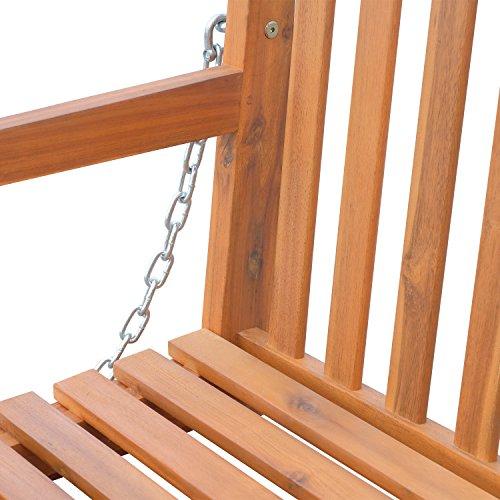 Outsunny Hängebank Gartenschaukel Hollywoodschaukel 2-Sitzer mit Ketten Holz Braun B122 x T61 x H59cm - 4