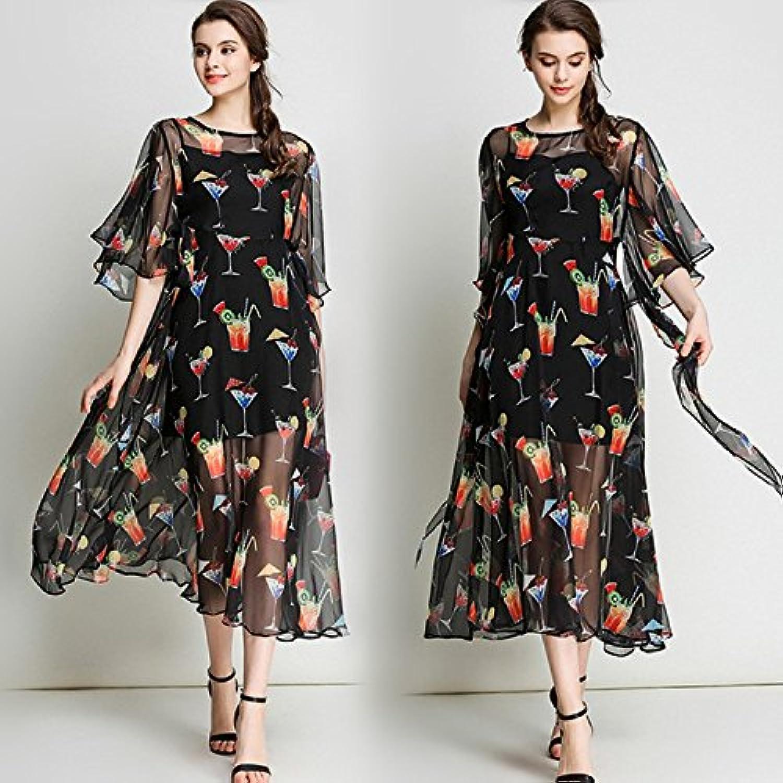 &QQ Dress, printed bat sleeves, high waist two sets, Bohemian dress