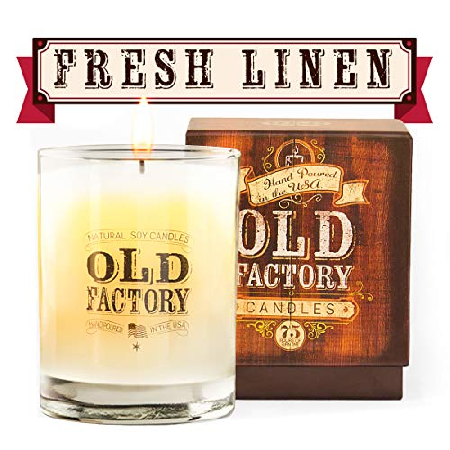 Old Factory Scented Candles - Fresh Linen - Decorative Aromatherapy - Handmade in The USA with Only The Best Fragrance Oils - 11-Ounce Soy Candles