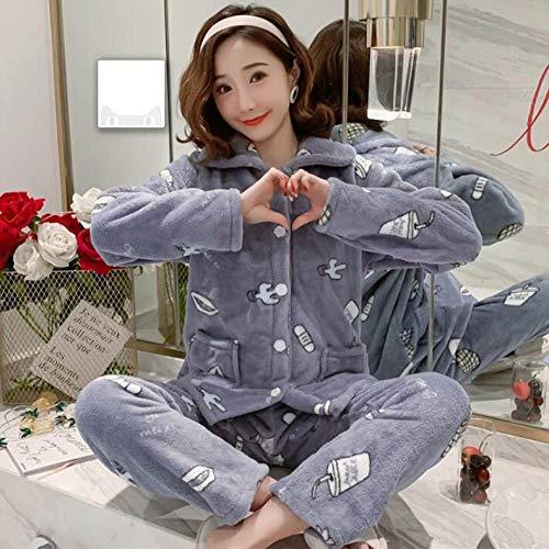 Conjunto De Pijamas Para Mujeres,Invierno Gris Dibujos Animados Coral Polar Pijama Conjunto Thicken Warm Suave Franela Homewear Ropa De Dormir Manga Larga Cárdigan Más Tamaño Pijamas Conjuntos Muje