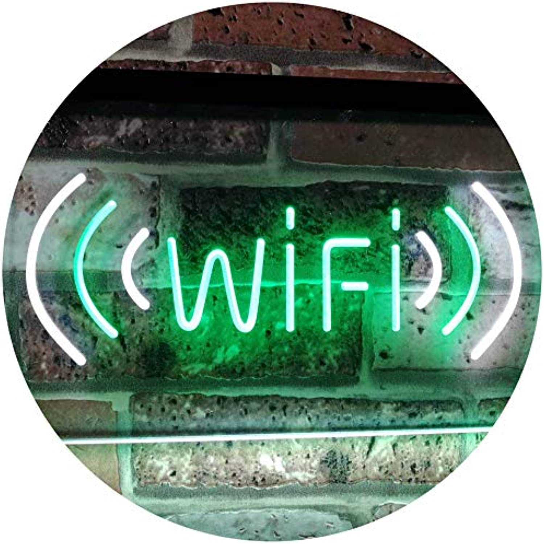 ADVPRO Wi-Fi Display Coffee Shop Dual Farbe LED Barlicht Neonlicht Lichtwerbung Neon Sign Weiß & Grün 16  x 12  st6s43-j2666-wg