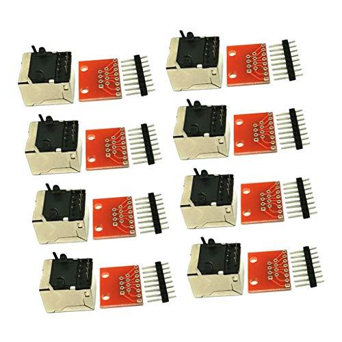 Milageto 8 Piezas Conector RJ45 PCB Y Kit De Placa De Conexión - 8 Piezas