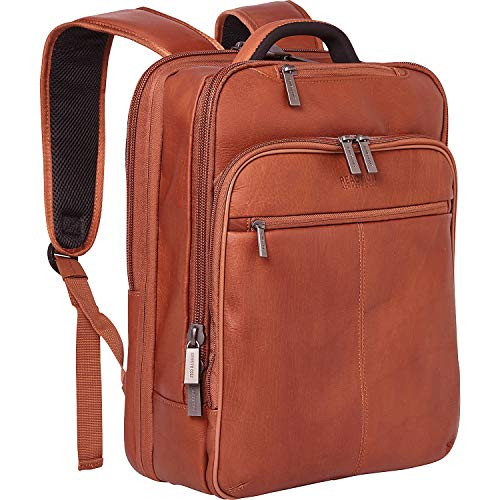 Kenneth Cole Reaction Manhattan Colombian Leather Slim 16' Laptop & Tablet Checkpoint-Friendly Anti-Theft RFID Business Book Bag Backpack, Cognac, Medium