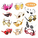Funny Glasses Party Sunglasses Costume Sunglasses,12 Pack Cool Shaped Funny Party Glasses