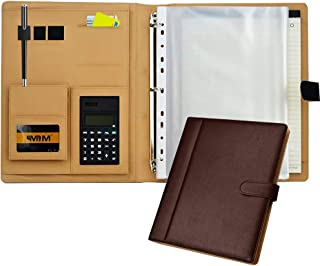 Portfolio Binder Padfolio Business File Document Organizer A4 Letter Size Notepad Clipboard Leather Case with Calculator P...