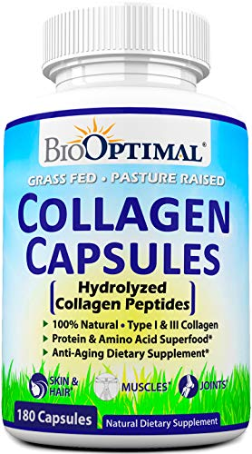 BioOptimal Collagen Pills - Collagen Supplements, 180 Capsules, for Skin, Hair, Nails & Joints, for Women & Men, Grass Fed, Non-GMO, Pasture Raised, Premium Quality