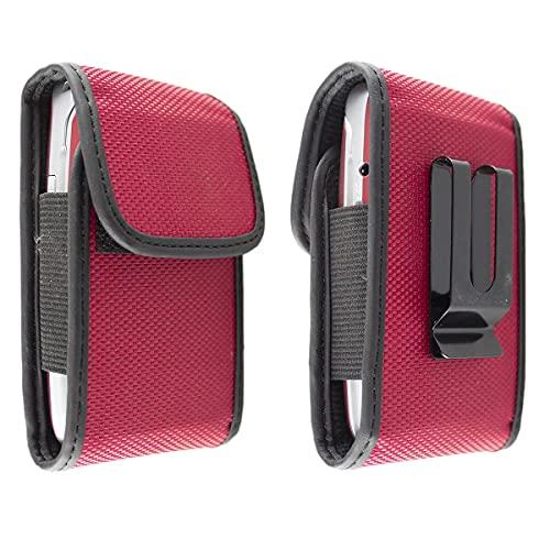 caseroxx Nylon Tasche mit Gürtelclip für Ihr Olympia Handy, passend für Brava Plus, Luna, Classic Mini, Classic Mini 2, Janus, Mira, Primus, Style Plus in rot