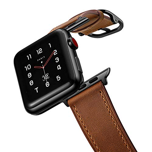 amBand Leather Band Compatible with Apple Watch SE Series 7/6 42mm 44mm 45mm, Genuine Leather Vintage Replacement Strap Classic Bands Buckle Compatible with iWatch SE 7/6/5/4/3/2/1, Retro Brown