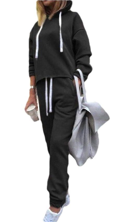 間欠首許容できるレディースセット カジュアルプルオーバーパーカースウェットパンツ2ピーススポーツトラックスーツ衣装セット