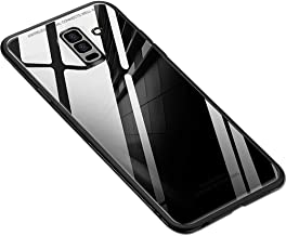 ERIT Samsung J8 2018 Back Case Cover Luxurious Toughened Glass Back Case with Shockproof TPU Bumper Samsung J8 (Black Glass)