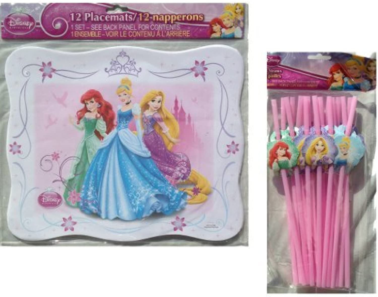 Disney Princess 12 Pack Paper Placemats(13 x10.5 ), Disney Princess 18 Pack Bendy Straws with Printed Princess Charactersdisney Princess Party Decorations by peach tree playthings