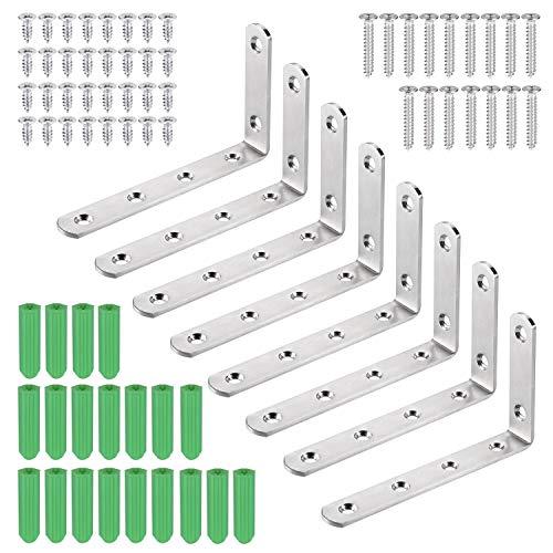 JIZZU 8Stück Edelstahl Winkelverbinder, Multifunktionale Wandhalterung Metallwinkel 90 Grad, Geeignet für Wandhalterung regal, Regalhalterung, Eckregal