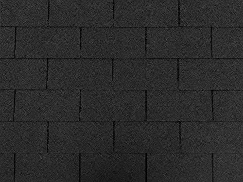 Isolbau Bardeaux de toit rectangulaires de 2 m² - Noir (14 pièces) - Bardeaux en feutre bitumé - Maison de jardin pour oiseaux - Clapier en bois pour piliers en béton