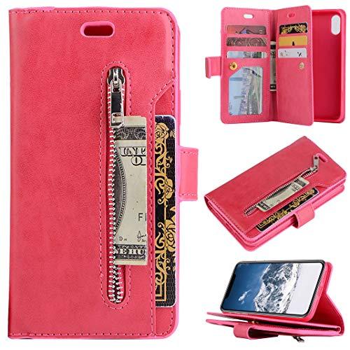 Compatible con Funda de Cuero para iPhone XS, Funda Plegable de Cuero con Tapa 9 Ranuras para Tarjetas Cierre Magnético Cubierta Protectora Antigolpe Bumper Carcasa Compatible con iPhone X, Rojo