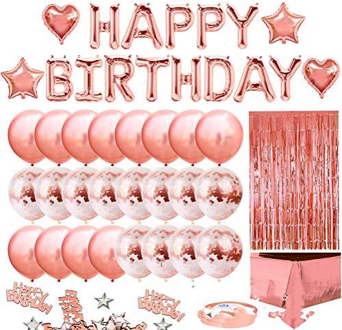 Unbekannt Geburtstags-Party-Deko-32pcs16 Zoll Alles Gute zum Geburtstag Buchstaben Regen Seidenvorhang rosa Ballon Konfetti Tischdecke geeignet für Geburtstagsparty Dekoration