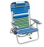 Rio Brands Rio Beach 4-PRio Beach 4-Position Backpack Lace-Up Suspension Folding Beach Chair - Blue/Green Stripe