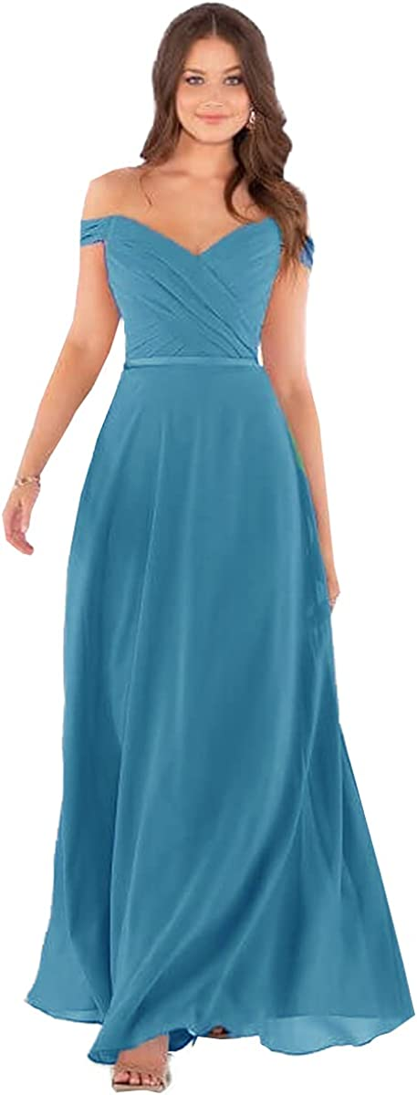 Yitiantian Women's Off The Shoulder Long Free Shipping New Chiffo Bridesmaid Mail order Dress