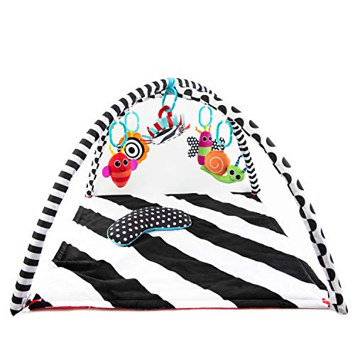 Sassy Black & White Tummy Time Playmat for Tummy or Back Play with Detachable Toys, Ages 0+ Months