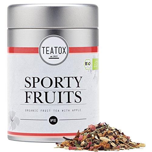 TEATOX Sporty Fruits, Bio Früchtetee mit Apfel und Hibiskus, Früchtetee lose im Grobschnitt ohne zugesetztes Aroma in Tee-Dose