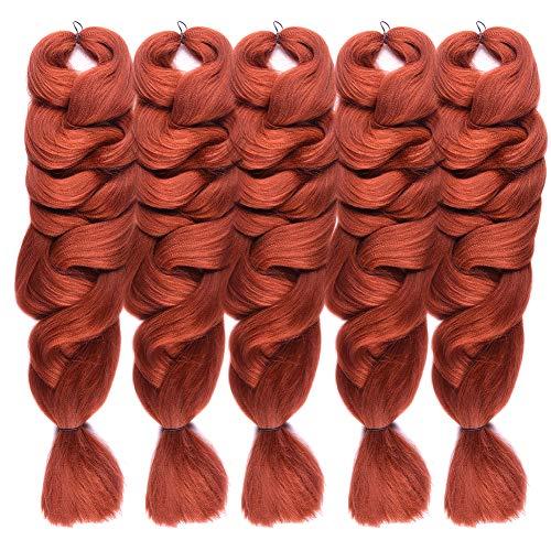 FASHION LADY Jumbo Braiding Hair Extension Synthetic Kanekalon Fiber for Twist Braiding Hair,Kanekalon Jumbo Box Braiding Hair,5 Bundles/Lot,(84 Inch, Color 350)