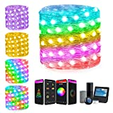 66Ft Smart Led Fariy String Lights Work with Alexa Google Home Voice APP Remote Control ICRGB Color Changing Multi Modes Musical Twinkle Lights for Halloween Chirstmas Tree Bedroom Room Wall Decor
