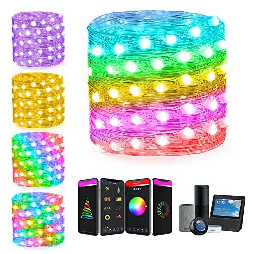 Smart Stringa Luci Fatate LED WiFi con Telecomando Compatibile con Alexa,5M 50LED Alimentazione USB Lucine LED Decorative per Camera da Letto, Natale,Feste, [Classe di efficienza energetica A+]