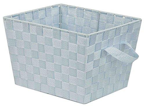 Home Basics Blue Medium Polyester Woven Strap Open Bin, Metallic