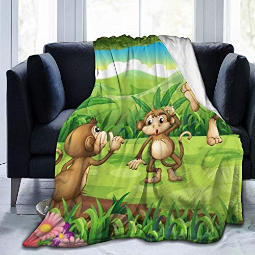 Minalo Personalized Fleece Blanket,Monkeys Playing in The Forest,Living Room/Bedroom/Sofa Couch Bed Flannel Quilt Throw Blanket,50'X 60'