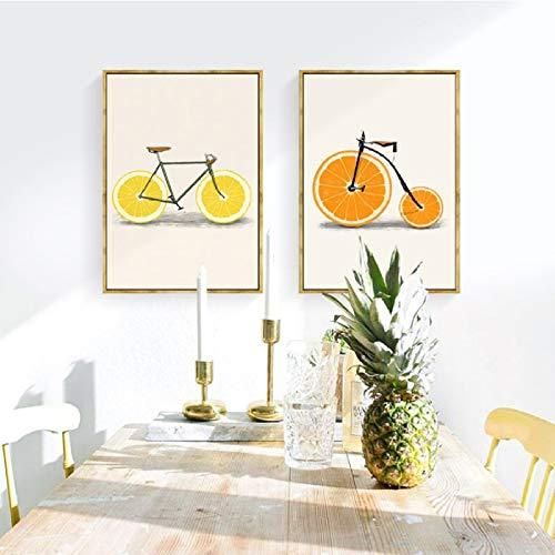 XWArtpic Abstrakte Mode Bike Lemon orange Obst Druck leinwand gemälde küche Decor Nordic pop Poster minimalistischen wandkunst Bilder d 60 * 100 cm