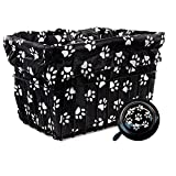 Cruiser Candy Bicycle Basket Liner & Tote in One, Stylish Bike Basket Liner, Yoga Bag,Gym Bag,Beach Bag. Matching Bicycle Bell Included, Bike Bell (Dog Paw)